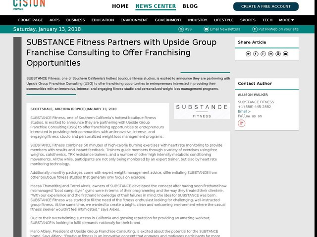 SUBSTANCE Fitness Partners with Upside Group Franchise Consulting to...