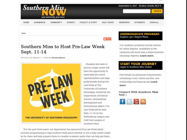 Southern Miss to Host Pre-Law Week Sept. 11-14