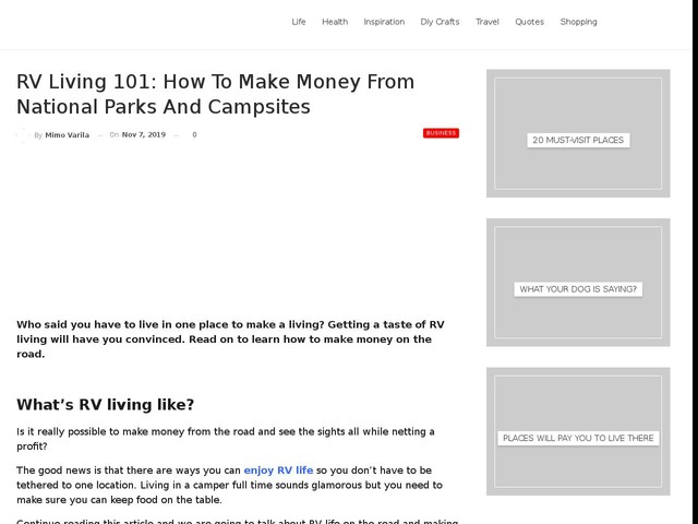 RV Living 101: How to Make Money from National Parks and Campsites