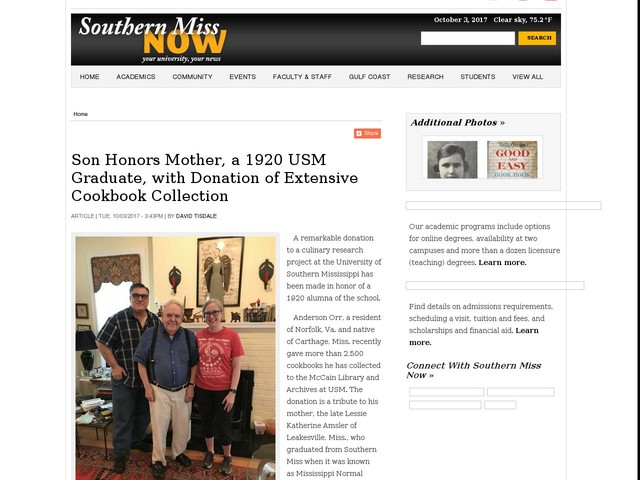 Son Honors Mother, a 1920 USM Graduate, with Donation of Extensive Cookbook Collection