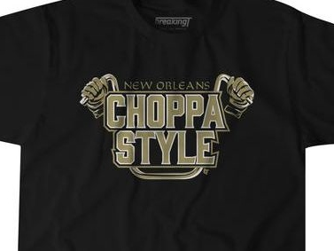 The Saints' viral 'Choppa Style' locker room celebration is now a T-shirt for Who Dat nation