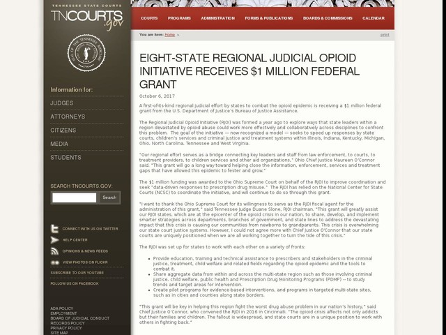 Eight-State Regional Judicial Opioid Initiative Receives $1 Million Federal Grant