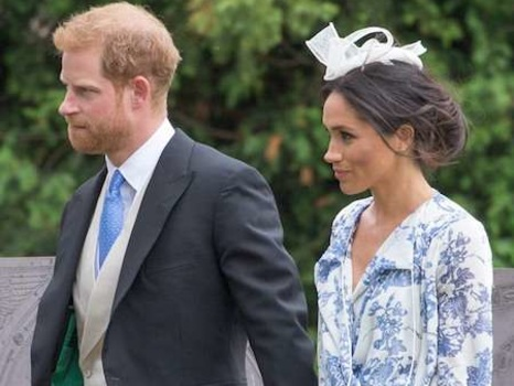 Meghan Markle Nearly Tumbles in Floral Dress at Prince Harry's Cousin's Wedding