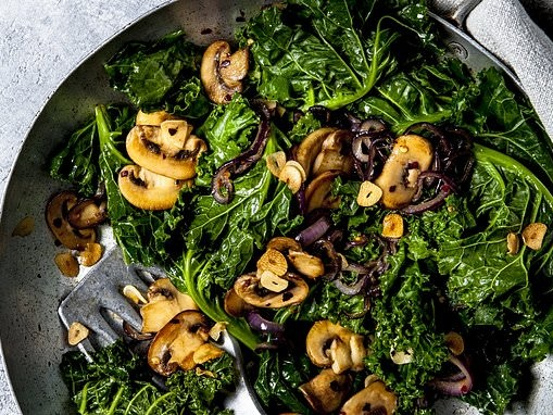 Stage one: Garlicky Greens with Mushrooms
