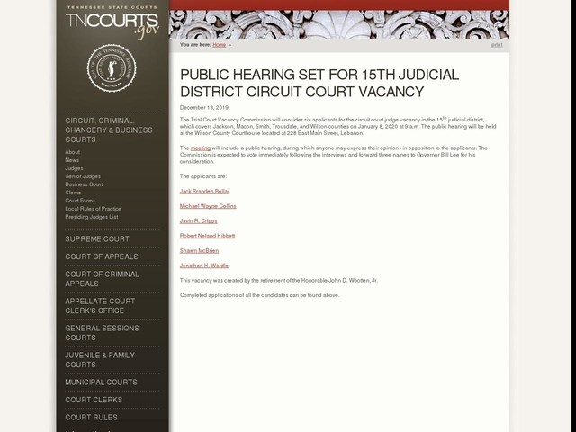 Public Hearing Set for 15th Judicial District Circuit Court Vacancy