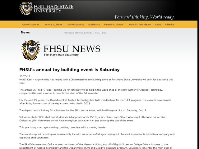 FHSUs annual toy building event is Saturday