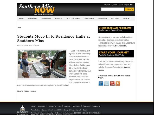Students Move In to Residence Halls at Southern Miss