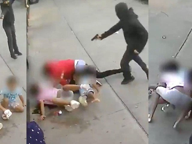 Shocking video shows terrified children ages 5 and 10 in the line of fire during brazen NYC attack