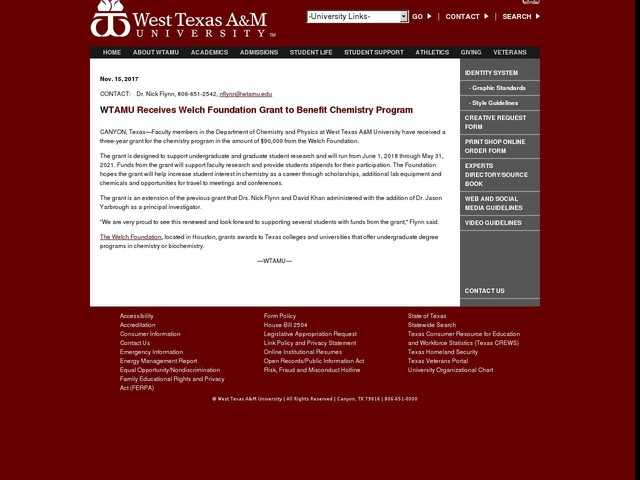 WTAMU Receives Welch Foundation Grant to Benefit Chemistry Program