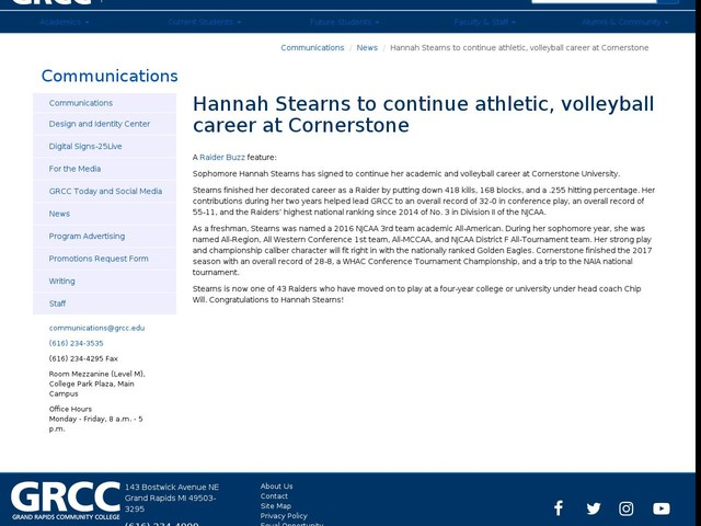 Hannah Stearns to continue athletic, volleyball career at Cornerstone
