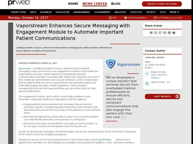 Vaporstream Enhances Secure Messaging with Engagement Module to...