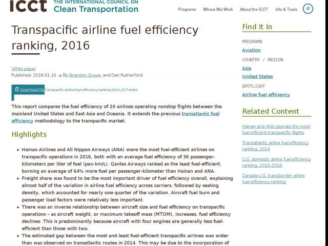 Transpacific airline fuel efficiency ranking, 2016