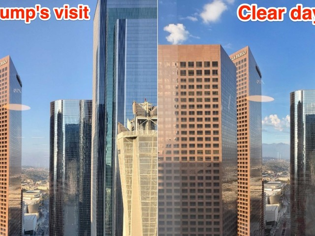 See how smoggy downtown LA was the day before Trump is expected to demolish California's attempts to tackle auto emissions