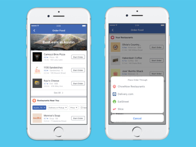 Facebook now lets you order food using its app