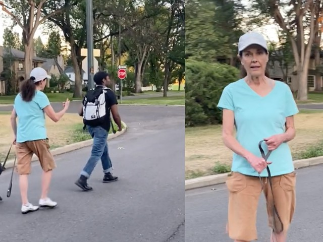 Woman has internal freakout after noticing she's being recorded harassing a Black man