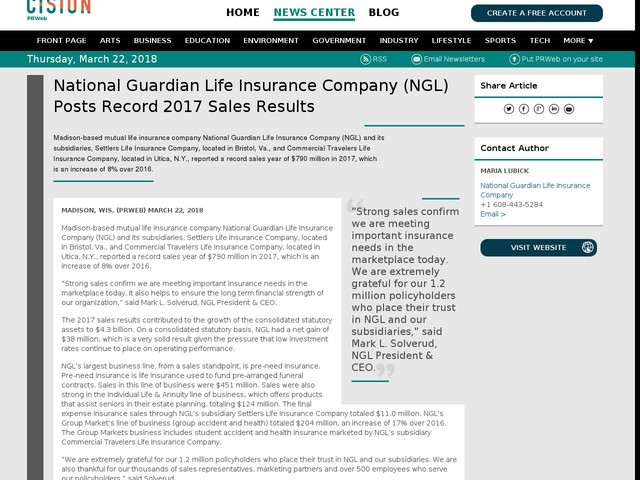 National Guardian Life Insurance Company (NGL) Posts Record 2017 Sales...