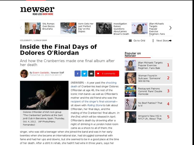 Inside the Final Days of Dolores O'Riordan