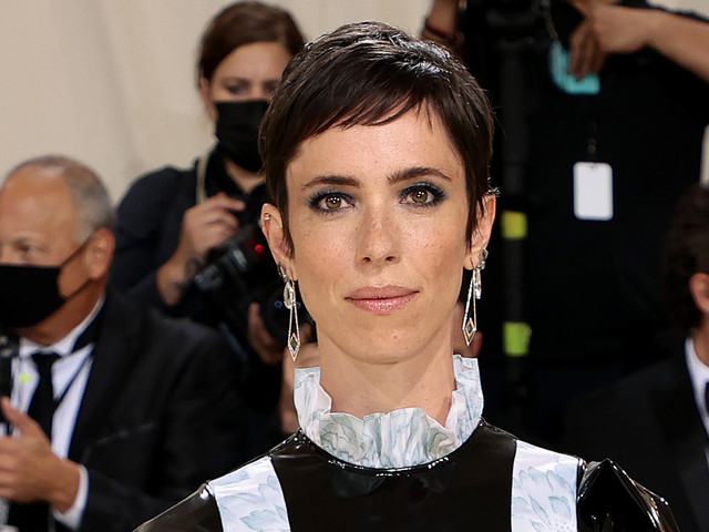 Rebecca Hall Puts a Classic Spin on a Leather Dress at Met Gala 2021