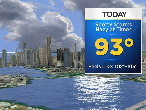 Miami Weather: Partly Cloudy & Hot, Spotty Showers Possible
