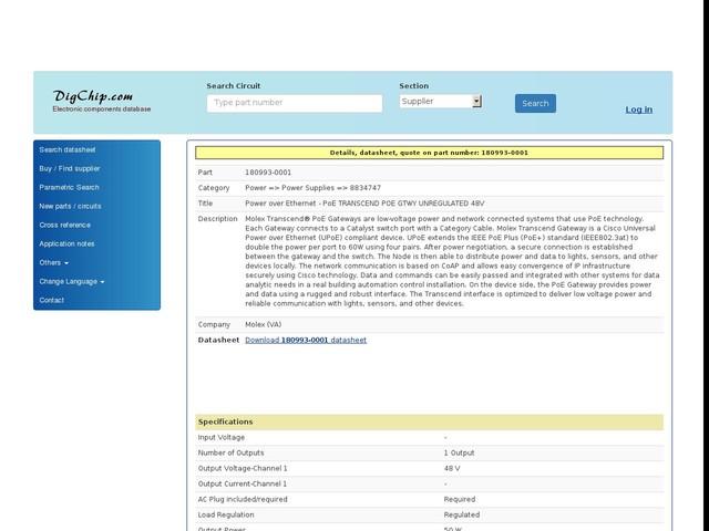 180993-0001: Power over Ethernet - PoE TRANSCEND POE GTWY UNREGULATED 48V