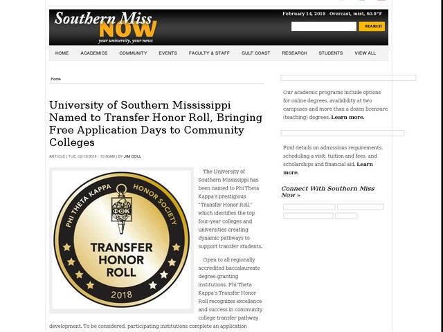 University of Southern Mississippi Named to Transfer Honor Roll, Bringing Free Application Days to Community Colleges