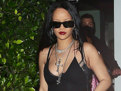 Rihanna Reveals Her Lacy Lingerie Underneath Black Tank Top For Night Out — Photo