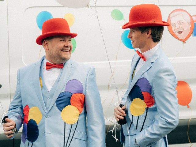 Eddie Redmayne & James Corden Spread Some Joy With Surprise Balloon Delivery - Watch Now!