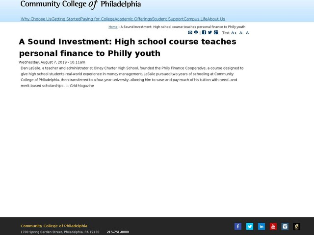 A Sound Investment: High school course teaches personal finance to Philly youth