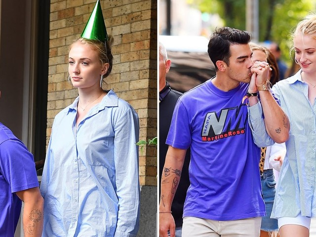 Joe Jonas and Sophie Turner Bust Out Their Party Hats For a Birthday Lunch in NYC