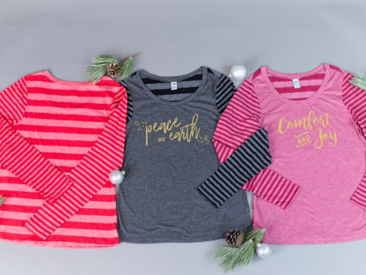 Get two adorable long-sleeved Christmas tees for just $15 each, shipped {Available again!}
