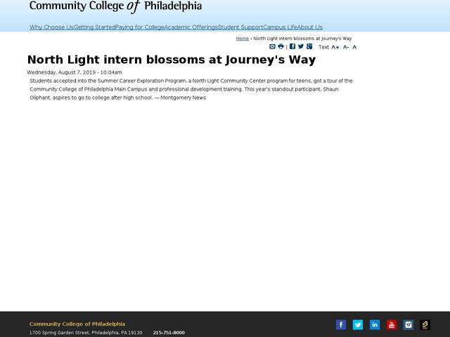 North Light intern blossoms at Journey's Way