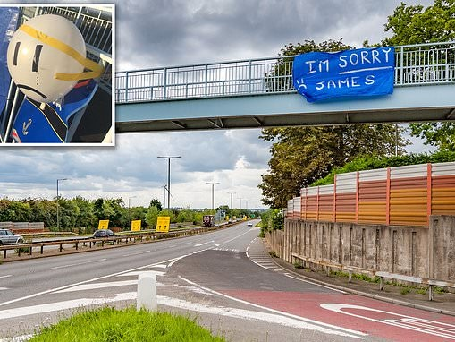 Banners displaying grovelling apology to mystery 'James' hung from bridge over A52