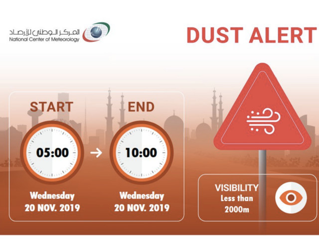 Weather alert: Dust storm warning issued in UAE