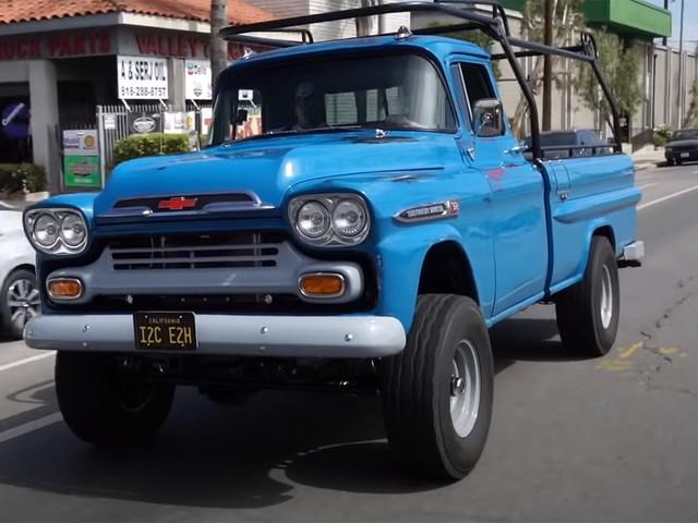 1959 Chevrolet Apache Work Truck Rocks Silverado Chassis, 560 HP Camaro V8