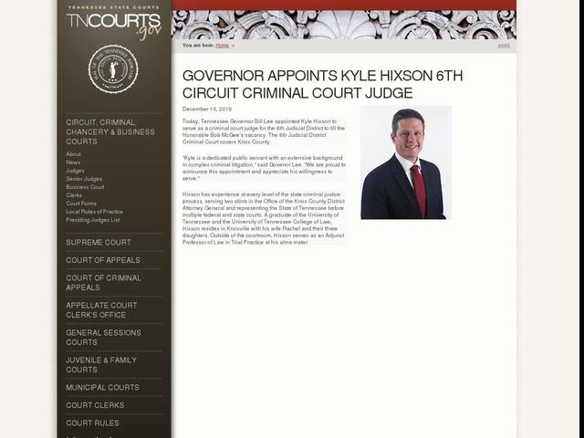 Governor Appoints Kyle Hixson 6th Circuit Criminal Court Judge