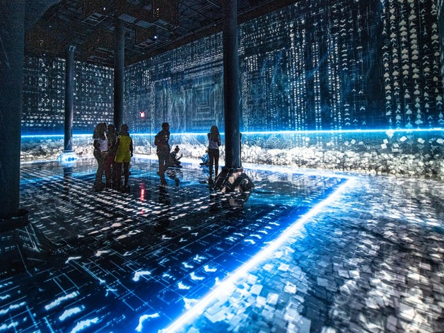 This immersive exhibit about the intersection of tech and art is hidden underneath Chelsea Market in New York City — check out some the wild-looking work on display