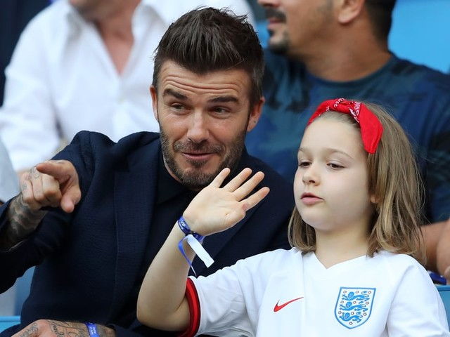 Aw! David Beckham and Daughter Harper Share Their Love of Soccer at a World Cup Match