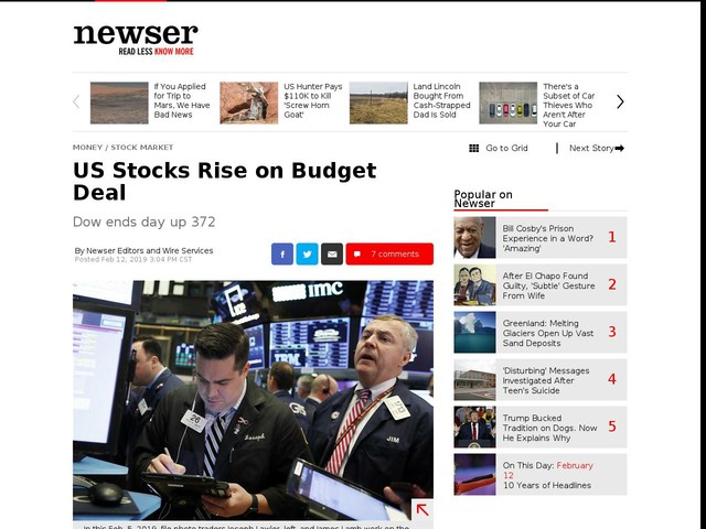 US Stocks Rise on Budget Deal