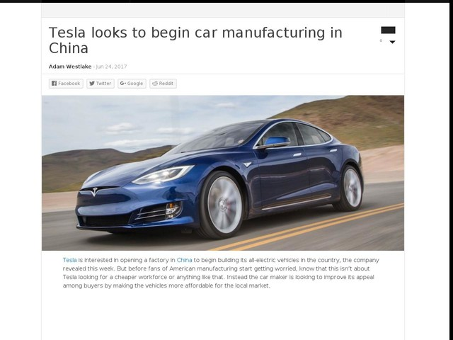 Tesla looks to begin car manufacturing in China