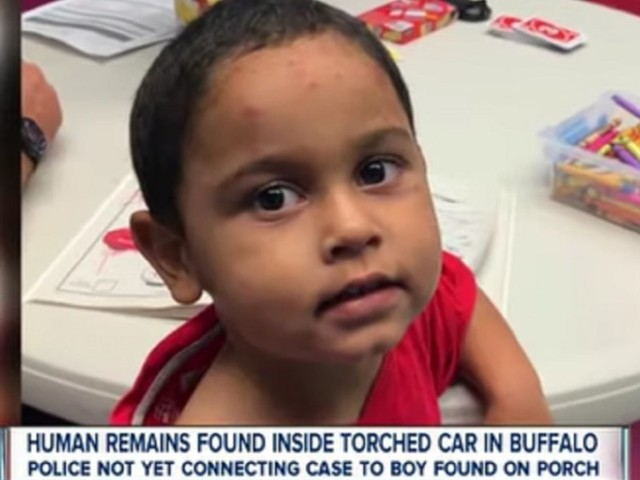 A 3-year-old boy was found sleeping in a box on a stranger's porch. His parents' car was found nearby, torched with two bodies inside.