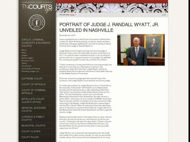 Portrait of Judge J. Randall Wyatt, Jr. Unveiled in Nashville
