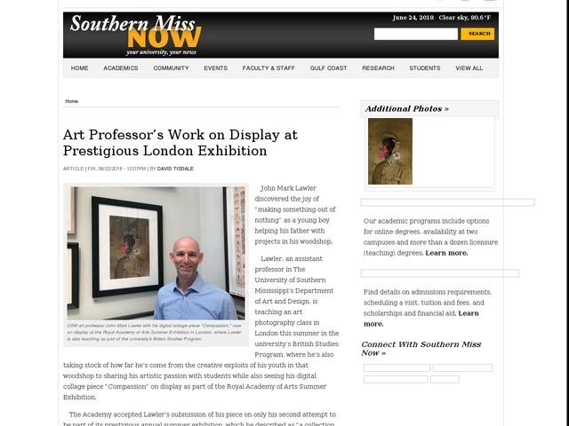 Art Professor's Work on Display at Prestigious London Exhibition