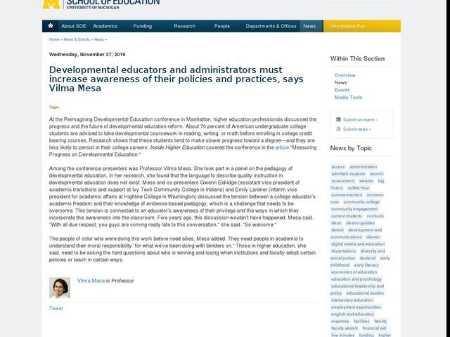 Developmental educators and administrators must increase awareness of their policies and practices, says Vilma Mesa