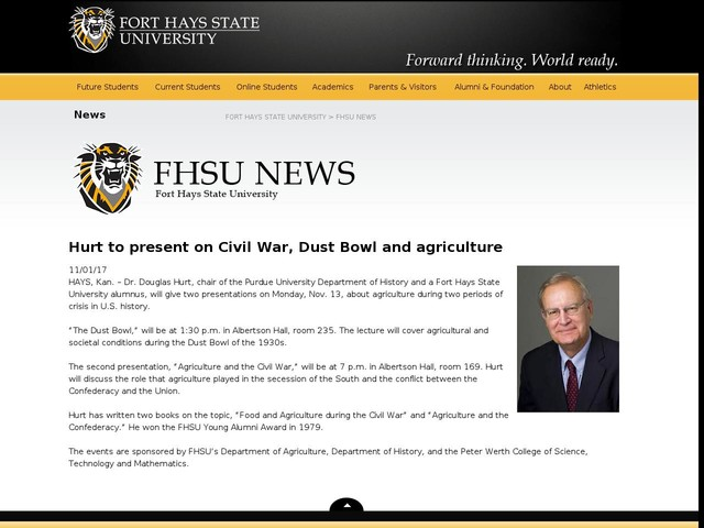 Hurt to present on Civil War, Dust Bowl and agriculture