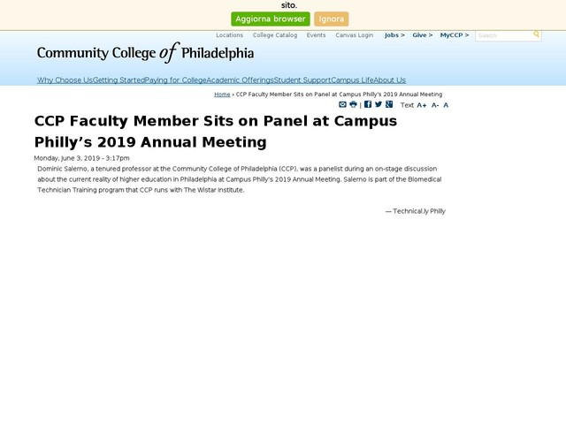 CCP Faculty Member Sits on Panel at Campus Philly's 2019 Annual Meeting