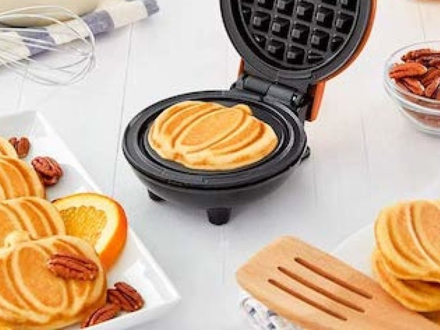 This best-selling mini pumpkin waffle maker is on sale for $10 -- and is the perfect kitchen addition for fall
