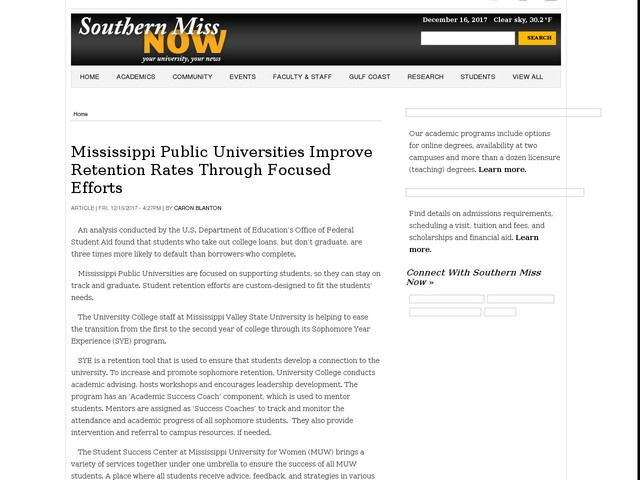 Mississippi Public Universities Improve Retention Rates Through Focused Efforts