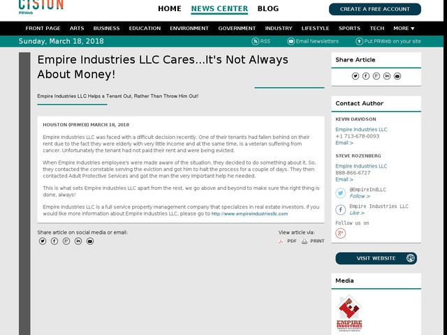 Empire Industries LLC Cares...It's Not Always About Money!