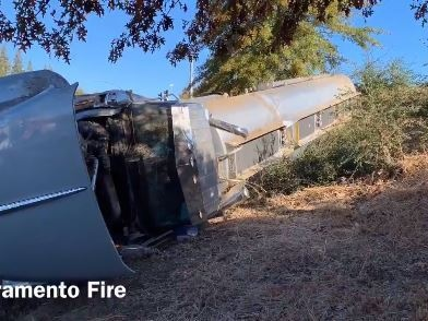 Tanker Carrying Fuel Overturns On I-5 At Richards Boulevard In Sacramento