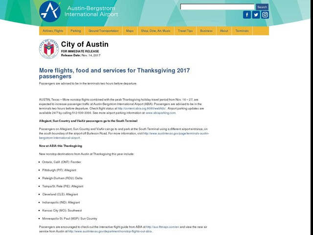 More flights, food and services for Thanksgiving 2017 passengers